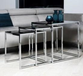 Zestaw trzech stolików ze szklanymi blatami Cross