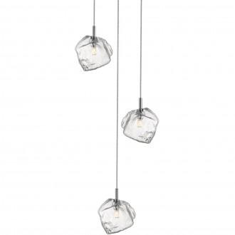Designerska lampa wisząca z trzema szklanymi kloszami Rock