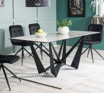 Nierozkładany stół jadalniany z blatem imitującym marmur Aston II Ceramic