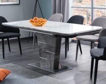 Rozkładany stół na jednej nodze imitującej strukturę betonu Ilario