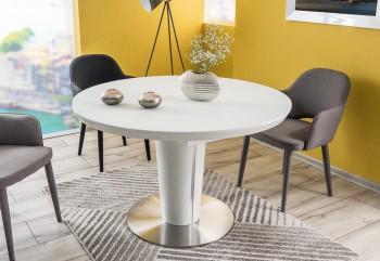 Rozkładany stół na jednej nodze w kolorze białym matowym Orbit