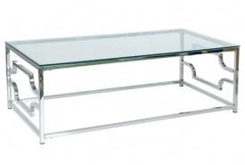 Prostokątna ława ze szklanym blatem na metalowej podstawie Versace A