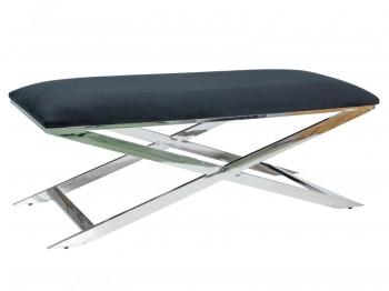 Elegancka ławka tapicerowana tkaniną aksamitną Lanvin