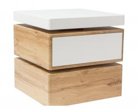 Trzypoziomowa ława obracana z szufladą Rita biały mat / dąb