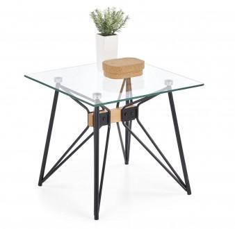Kwadratowy stolik kawowy z blatem szklanym Allegra