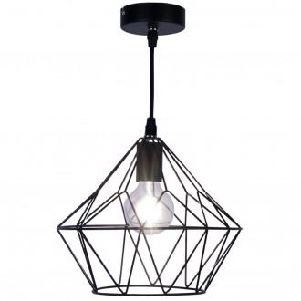 Czarna lampa wisząca z drucianym kloszem Atom