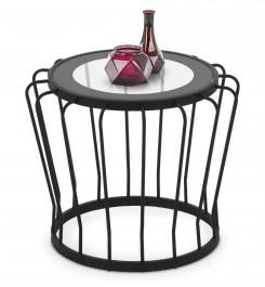 Metalowy stolik kawowy ze szklanym blatem Aviva