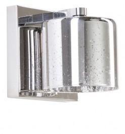 Srebrny kinkiet ścienny ze szklanym kloszem Pioli w kropki