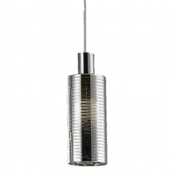 Srebrna lampa wisząca ze szklanym kloszem Pioli w paski