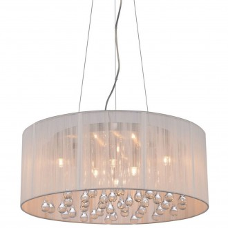 Biała lampa wisząca z abażurem i kryształkami Artemida 40