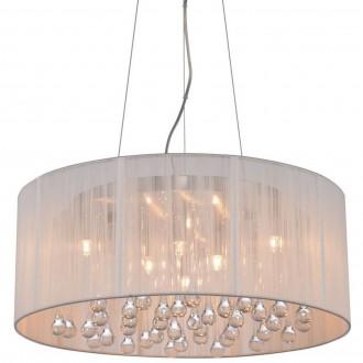Biała lampa wisząca z abażurem i kryształkami Artemida 50