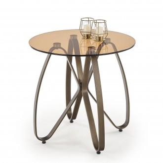 Szklany stolik kawowy na metalowej podstawie Lunga