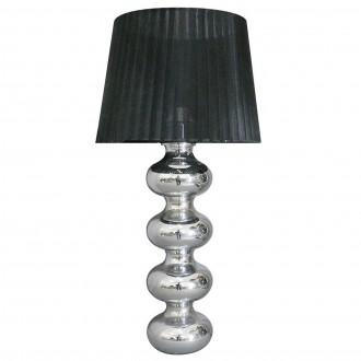 Stylowa lampa stołowa z abażurem w paski Deco czarna