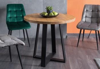 Stół z litego drewna dębowego na metalowej podstawie Vasco