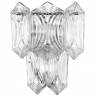 Szklany kinkiet ścienny w stylu glamour Corato chrom
