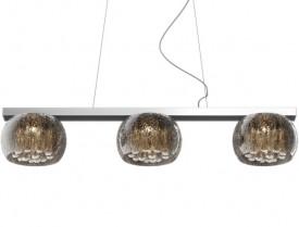 Designerska lampa wisząca z trzema kloszami Rain srebrna
