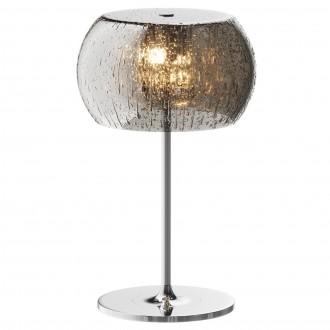 Designerska lampa stołowa ze szklanym kloszem Rain srebrna