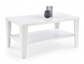 Biała ława do salonu z półką Manta