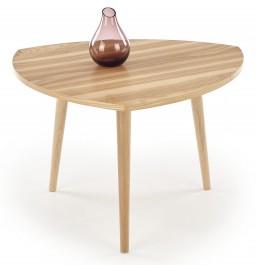 Drewniany stolik do salonu z trójkątnym blatem Coma