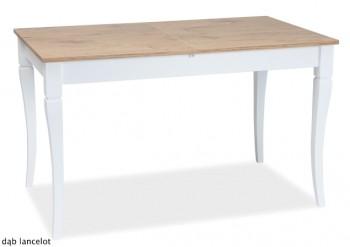 Rozkładany stół na białych nogach w stylu retro Ludwik