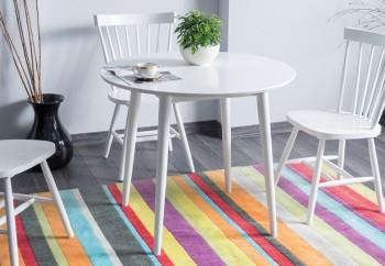 Biały stół nierozkładany z okrągłym blatem Larson 90 x 90 cm
