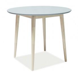 Okrągły stół na drewnianych nogach Larson szary / dąb bielony