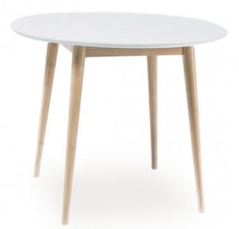 Skandynawski stół Larson biały / dąb bielony 100 x 100 cm