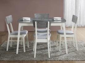 Rozkładany stół z szarym blatem na białych nogach Rimini