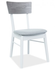 Drewniane krzesło z tapicerowanym siedziskiem MR-SC w kolorze biało - szarym