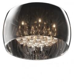 Plafon sufitowy z dymionym kloszem i kryształkami Crystal 40