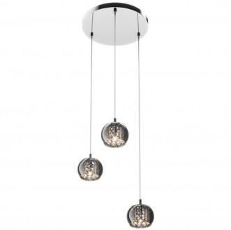 Lampa wisząca z dymionymi kloszami i kryształkami Crystal 3M