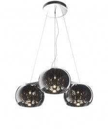 Lampa wisząca z dymionymi kloszami i kryształkami Crystal 3R