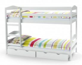 Drewniane łóżko piętrowe z materacami Sam biały