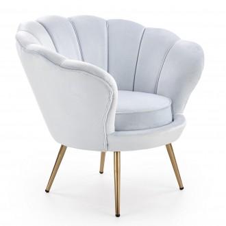 Tapicerowany fotel z poduszką na złotych nogach Amorino