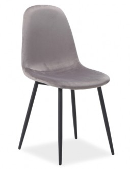 Krzesło na metalowych nogach Fox Velvet tapicerowane tkaniną aksamitną