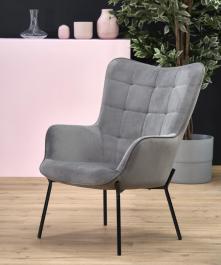 Pikowany fotel wypoczynkowy z podłokietnikami Castel