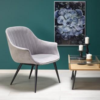 Fotel wypoczynkowy do salonu z tkaniny velvet Elegance