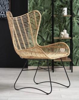 Designerski fotel rattanowy na płozach Indiana