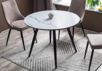 Nierozkładany stół okrągły z blatem w efekcie marmuru Ideal