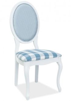 Białe krzesło z siedziskiem w kratę LV-SC w stylu retro