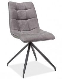 Pikowane krzesło tapicerowane szarą tkaniną Olaf na giętych nogach