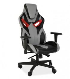 Gamingowy fotel w kolorze szarym z ekoskóry Cobra