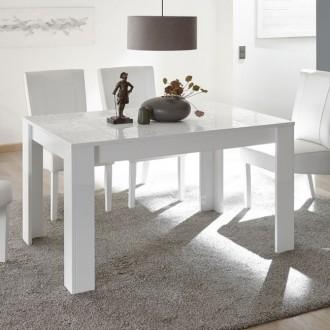 Rozkładany stół Vero biały połysk