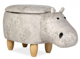 Tapicerowana pufa dziecięca ze schowkiem Hipopotam Hubert