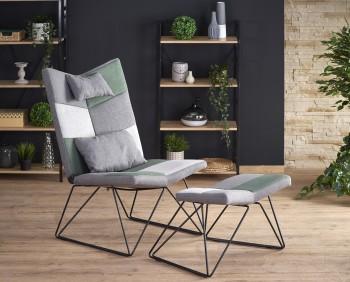 Designerski fotel wypoczynkowy z podnóżkiem Remix