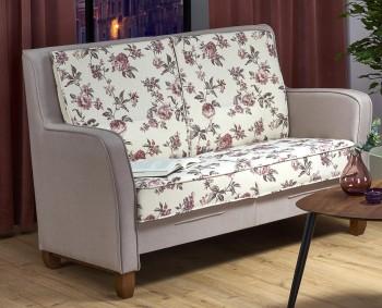 Nierozkładana sofa do salonu z siedziskiem w kwiaty London XL