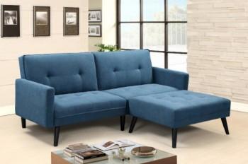 Tapicerowana sofa rozkładana z podnóżkiem Corner