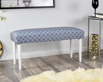 Ławka tapicerowana wzorzystą tkaniną Makarena niebieski