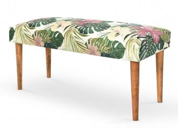 Ławka tapicerowana wzorzystą tkaniną Makarena zielony
