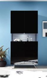 Witryna z tapicerowanymi elementami Glare 2D czarny połysk